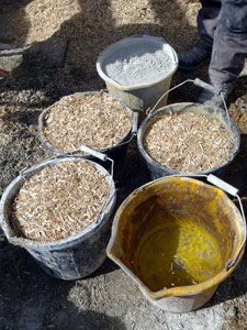 The constituents of hempcrete; hemp shiv, lime binder and water